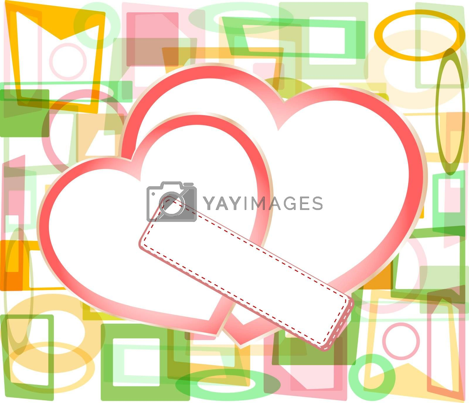 two valentine's paper hearts with a blank business card on a abstract background , valentine's day, postcard