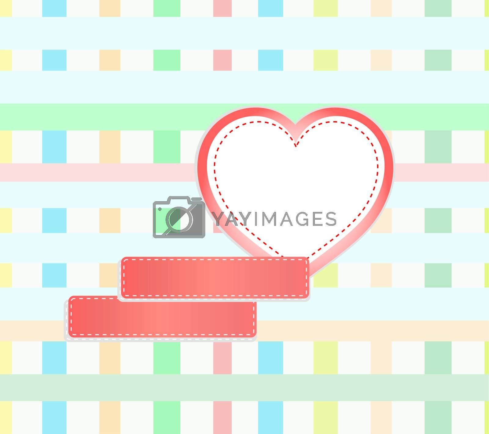 abstract vector mosaic background with hearts and empty space