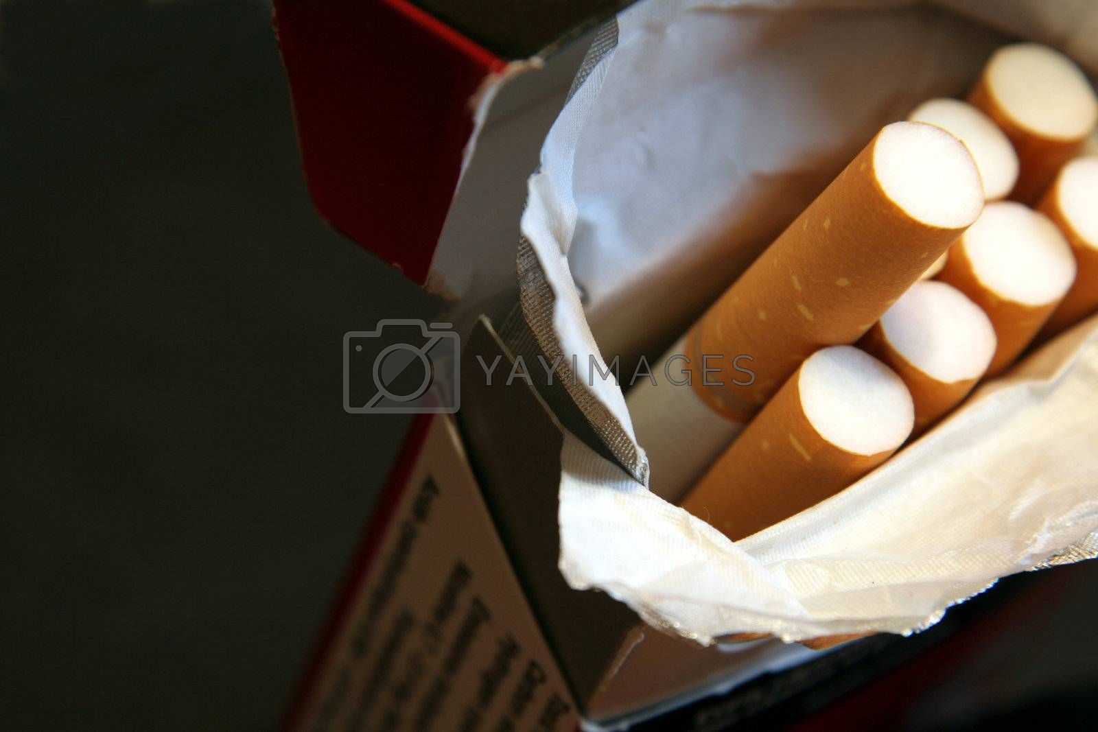 A macro shot of pack of cigarettes, shot with a very shallow depth of field.