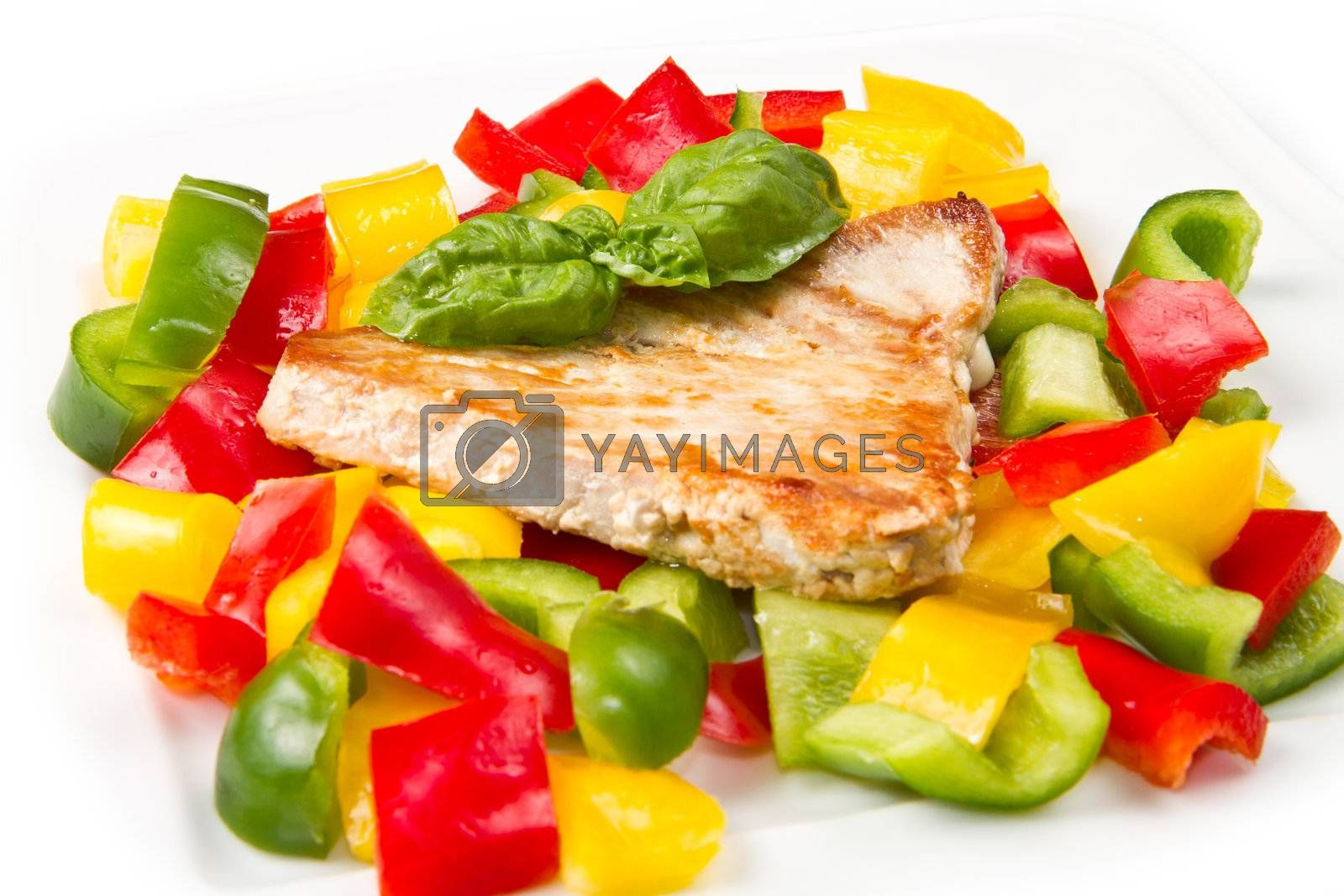 fried tuna fillet with pepper