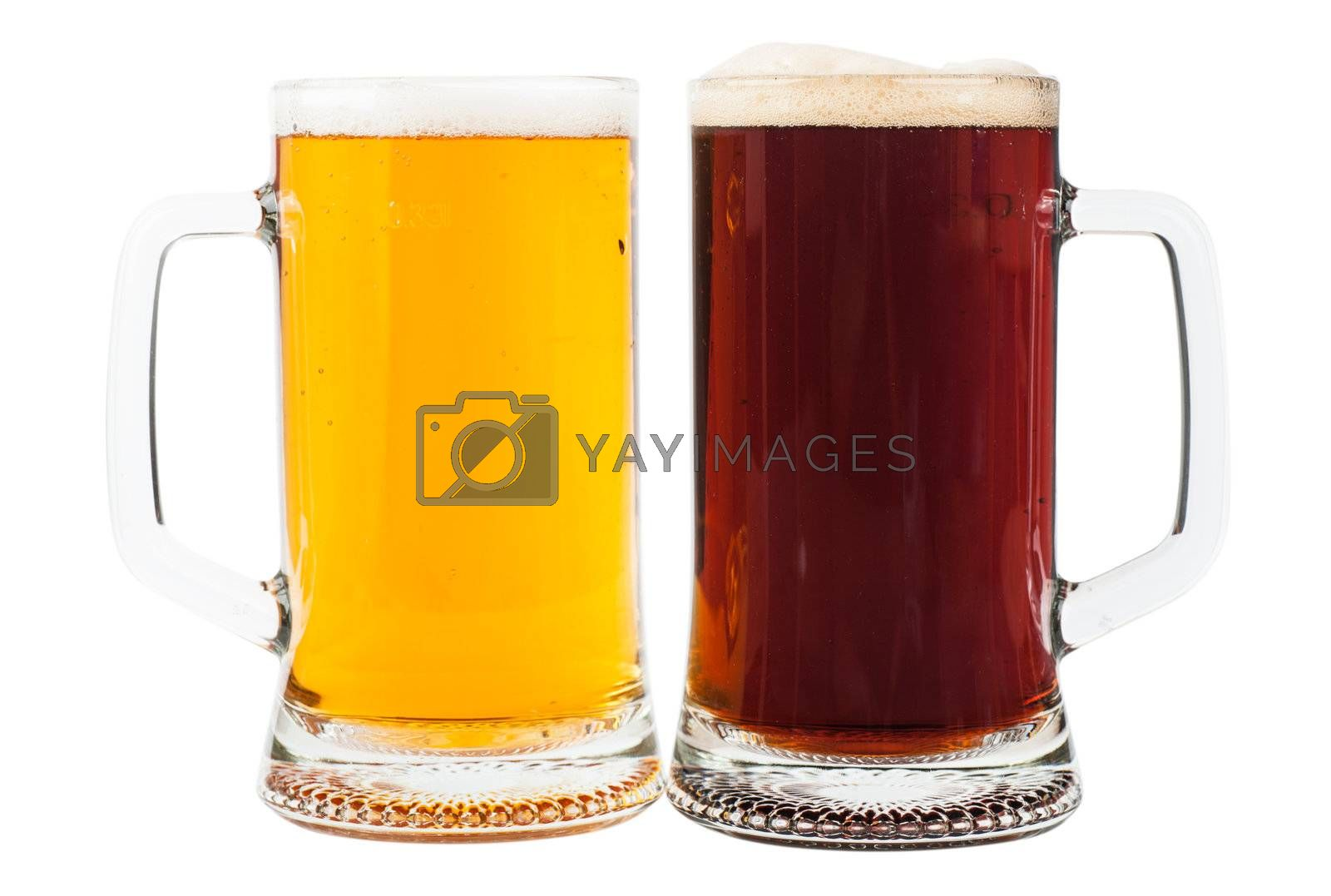 Light and brown beer in two glasses isolated over white background