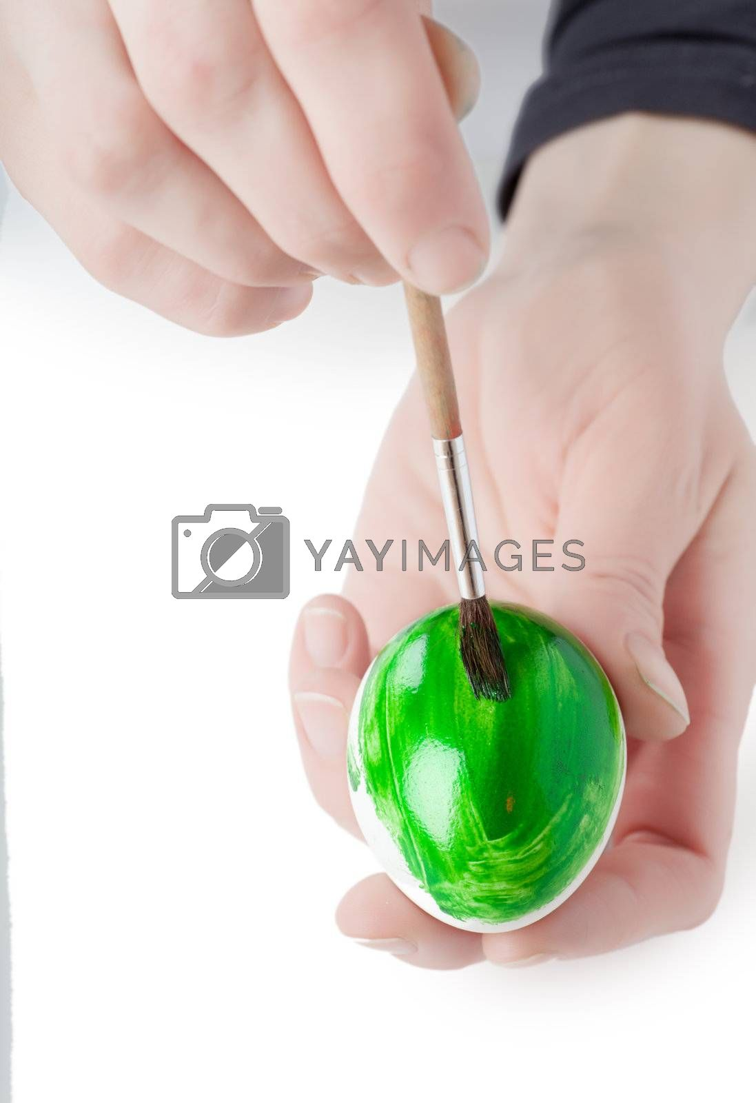 Woman decorating white egg with paint