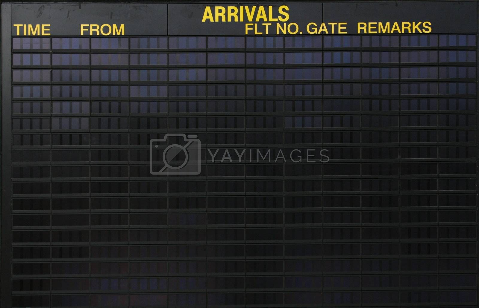 Empty arrivals sign at an international airport, put your own design on it