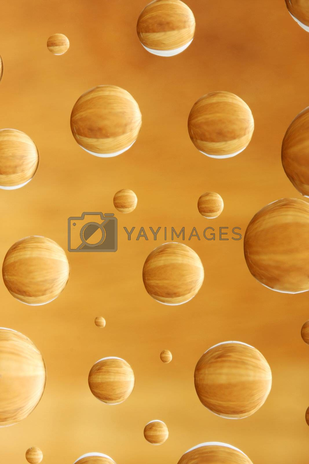 abstract background of wood pattern, reflected in droplets