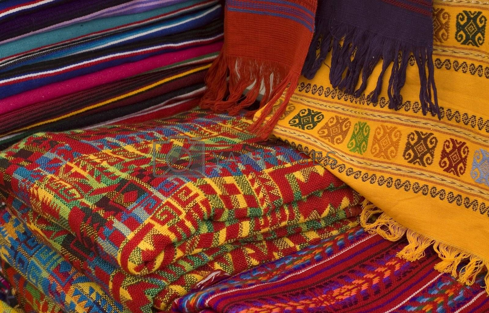 Colorful Mayan and Mexican Fabrics for sale in a Market in Chiapas, Mexico