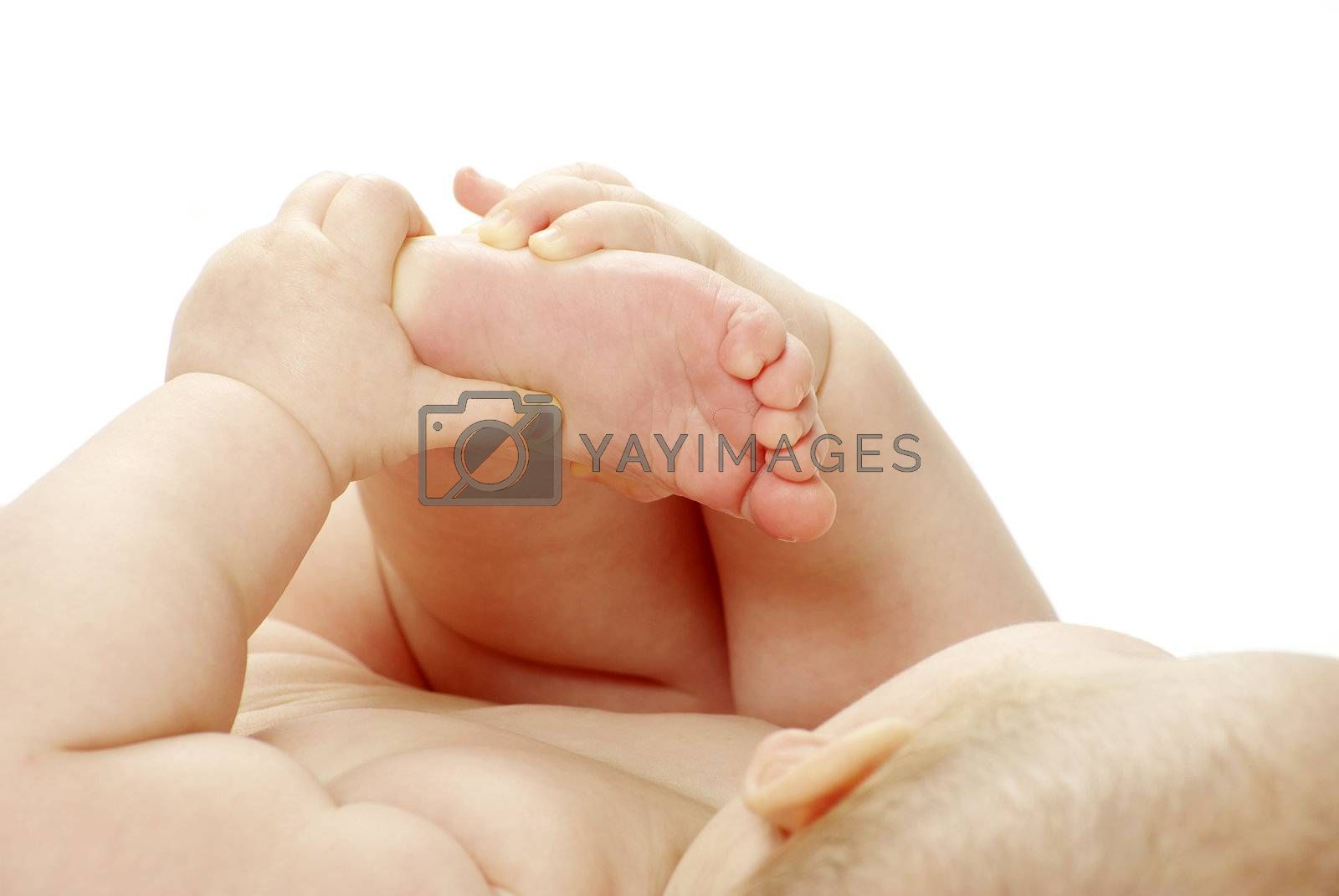 New born baby girl isolated on white