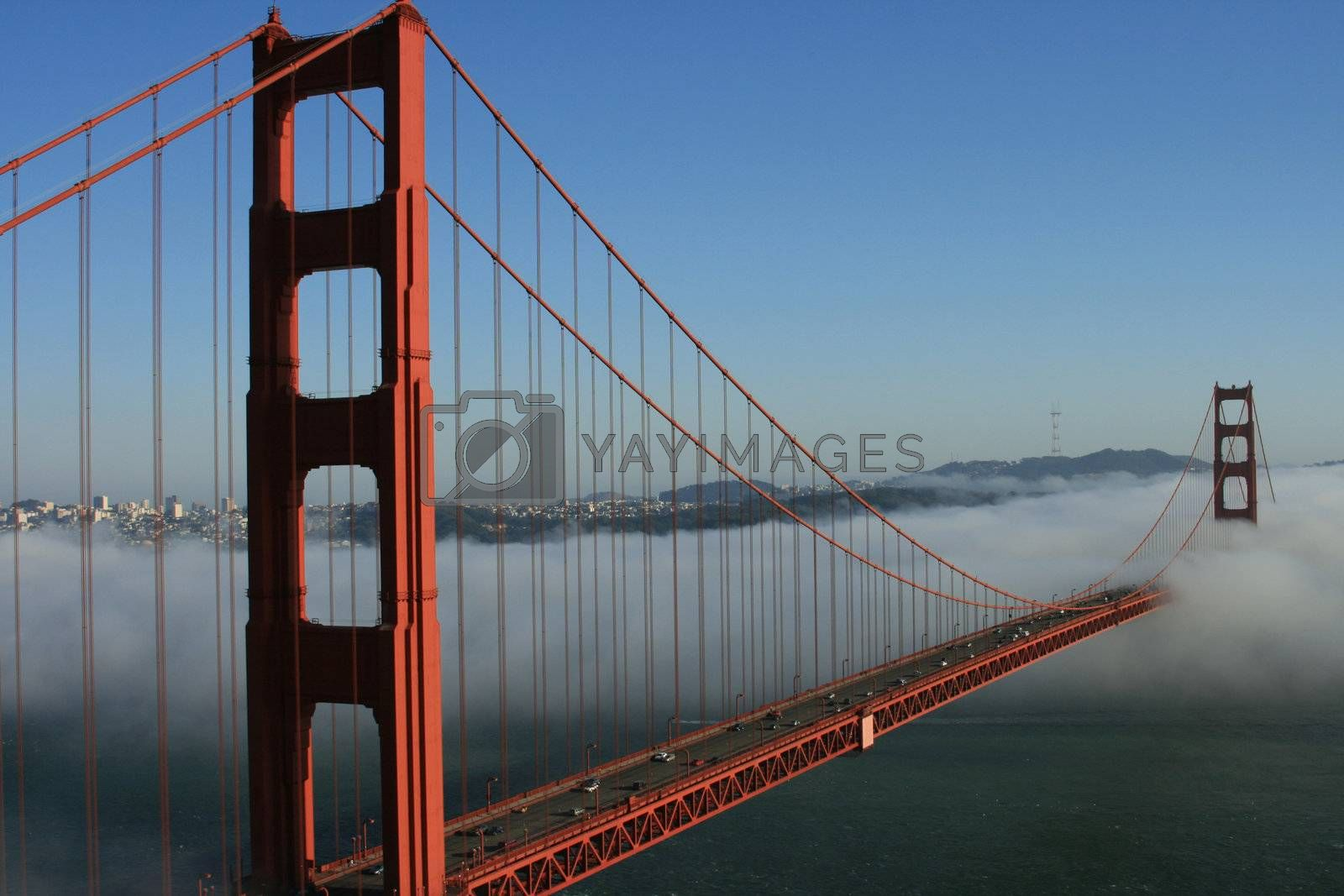 The iconic Golden Gate Bridge in San Francisco, California. Viewed from the Marin Headlands with the city of San Francisco in the background.