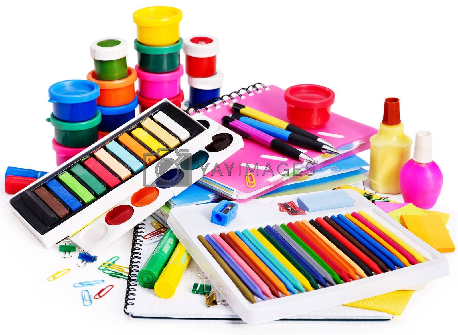 Group school supplies and watercolor.