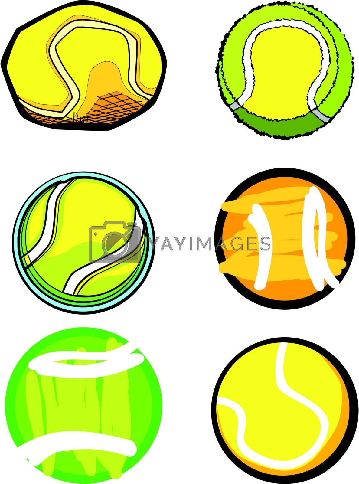 Illustrated Group of  Vector Tennis Ball Images