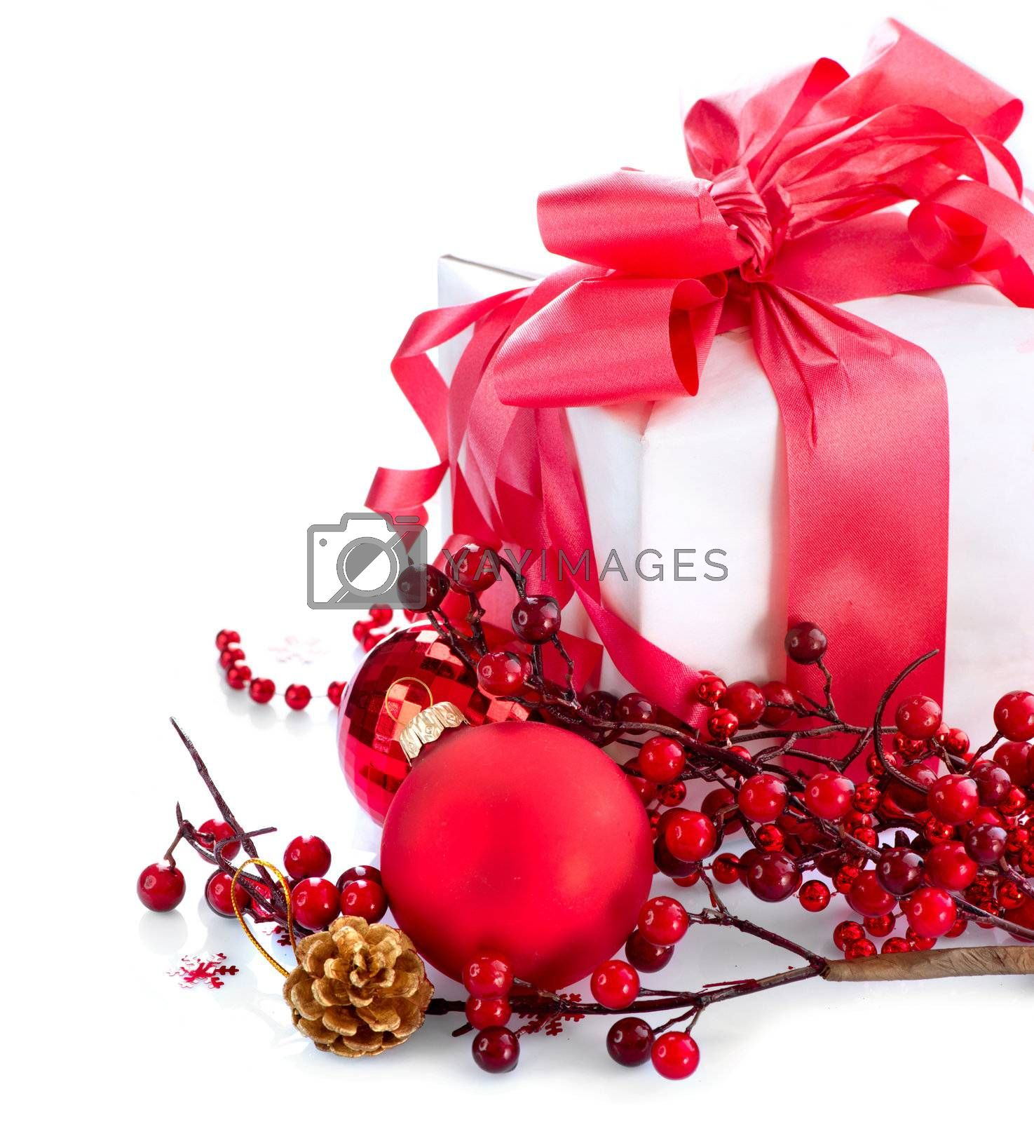 Christmas and New Year Gift Box and Decorations over White