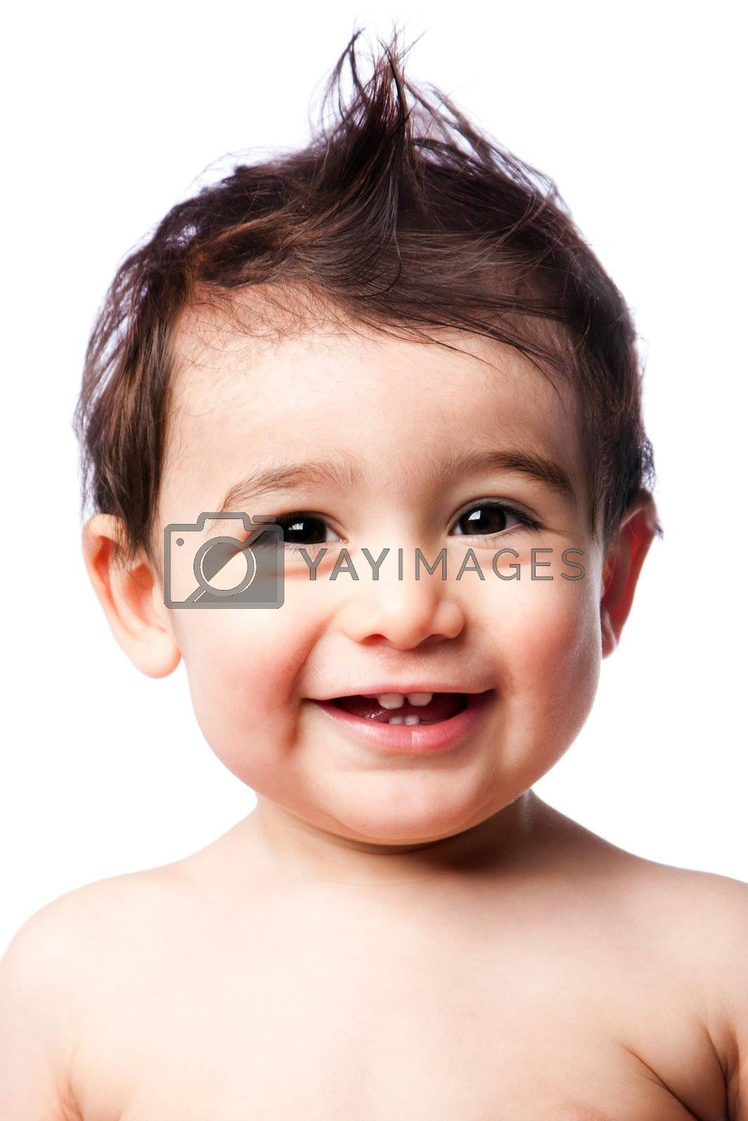 Cute happy smiling teething baby toddler with mohawk hairstyle, isolated.