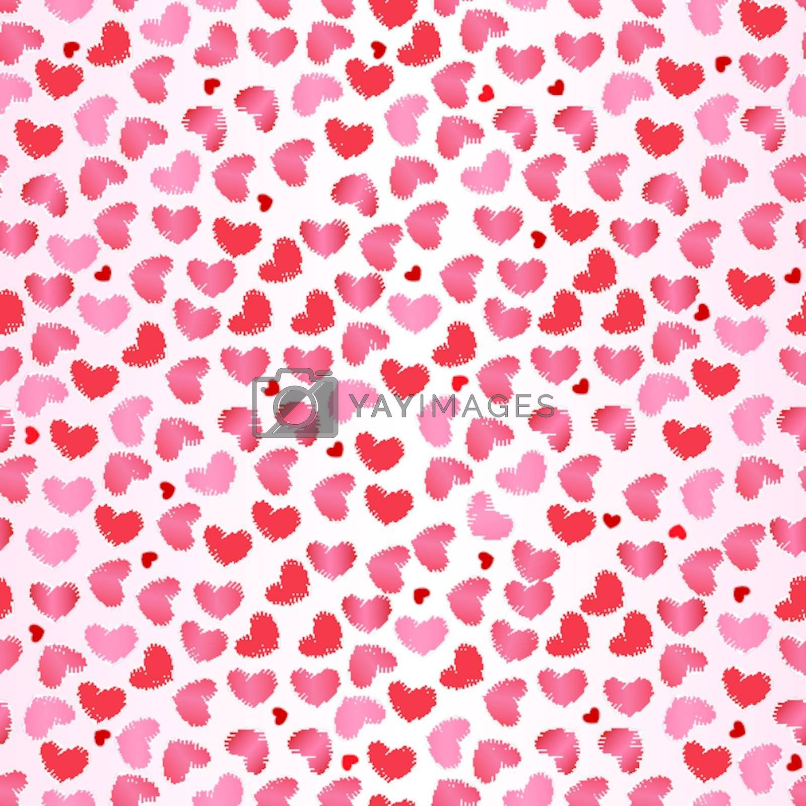 Seamless pattern for Valentine`s Day with hearts on pink background