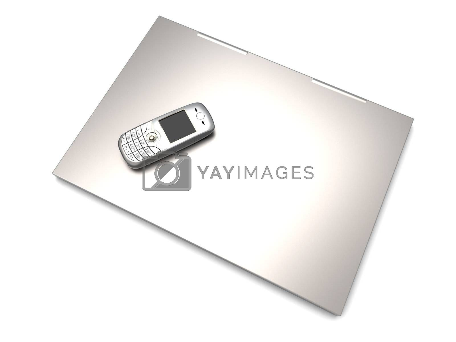 A cell phone and a Laptop. Mobile communication technology. 3D rendered Illustration.