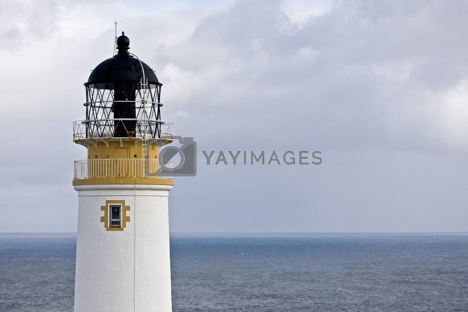 head of lighthouse with horizon in background. scotland, europe