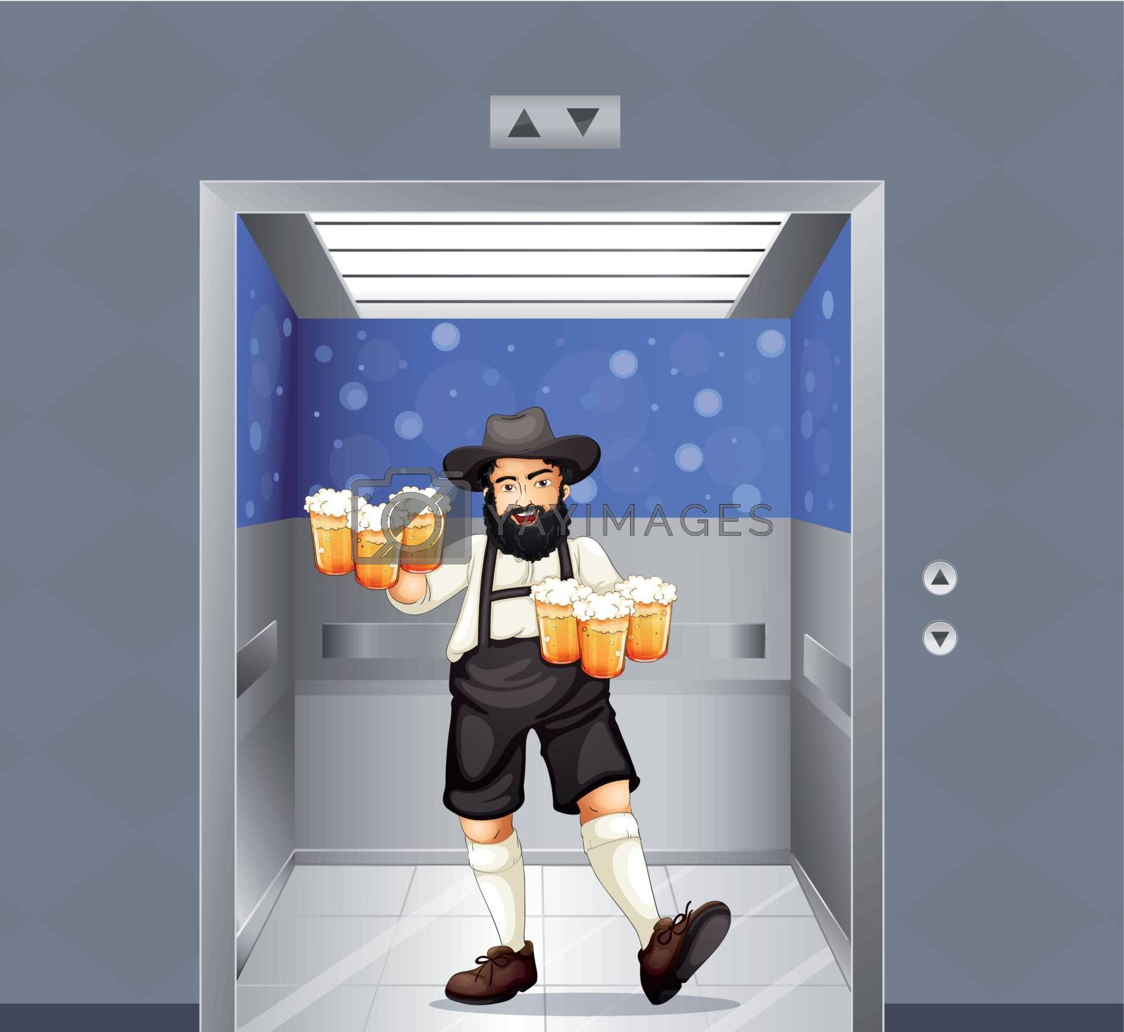 Illustration of a waiter with mug of beers at the elevator