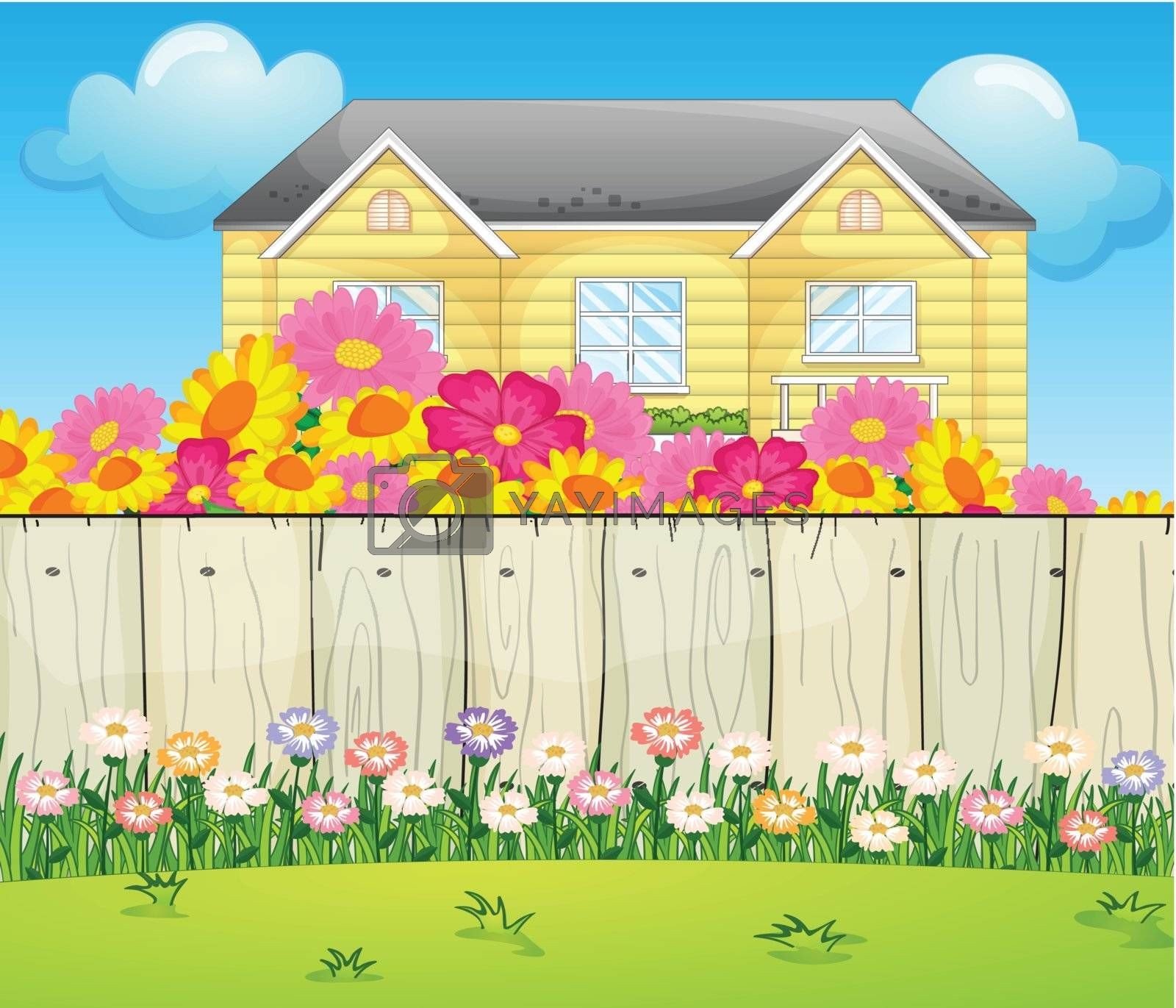 Illustration of a house surrounded with colorful flowers