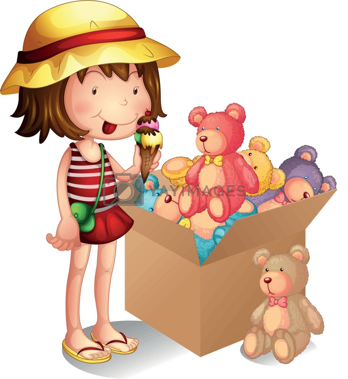 Illustration of a young girl beside a box of toys on a white background
