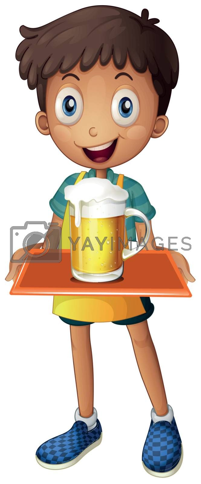 Illustration of a young boy holding a tray with a mug of beer on a white background