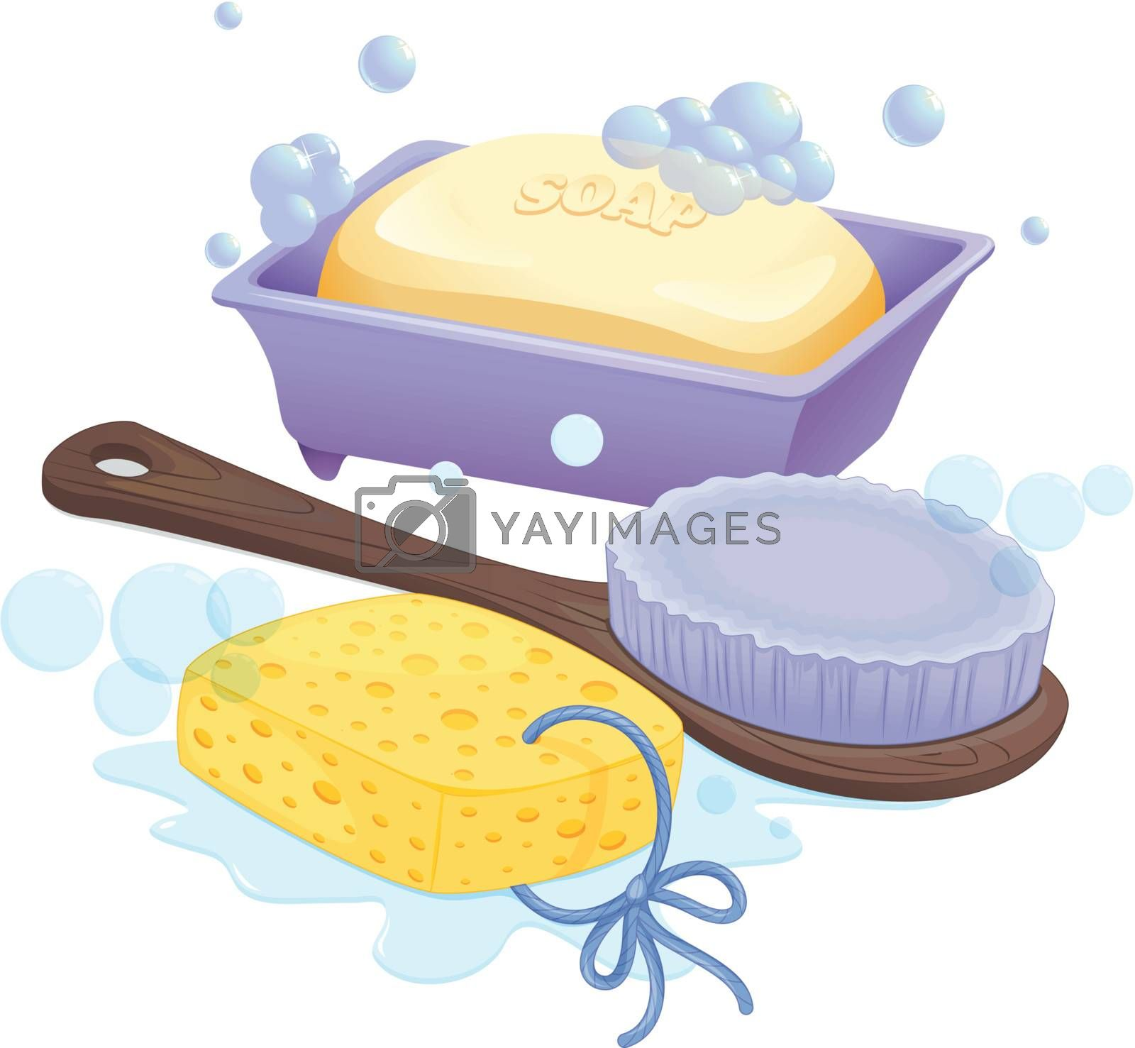 Illustration of a sponge, a brush and a soap on a white background