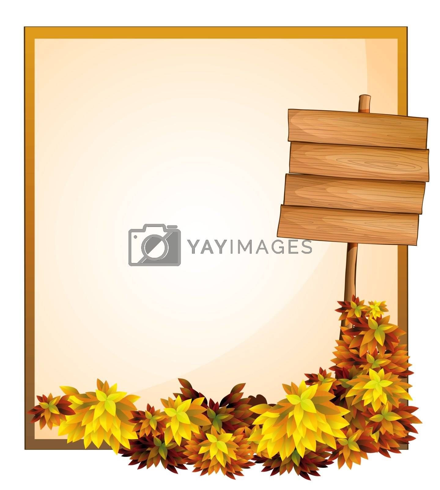 Illustration of an empty space and the empty wooden signboard on a white background