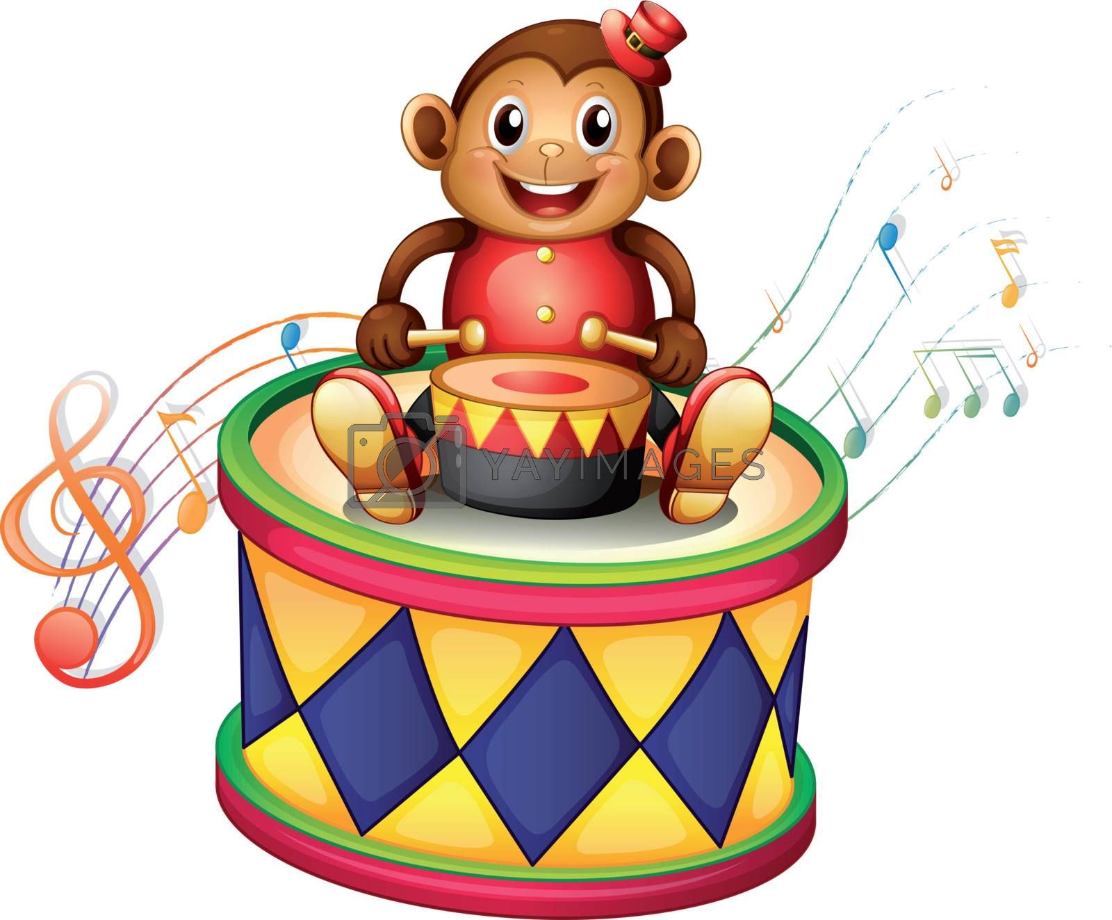 Illustration of a monkey above a big drum on a white background
