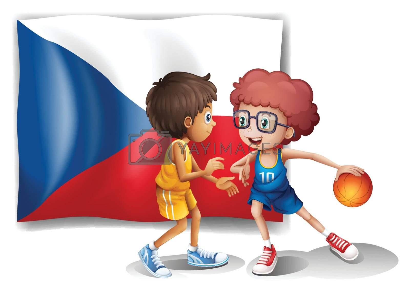 Illustration of the basketball players in front of the Czech Republic flag on a white background