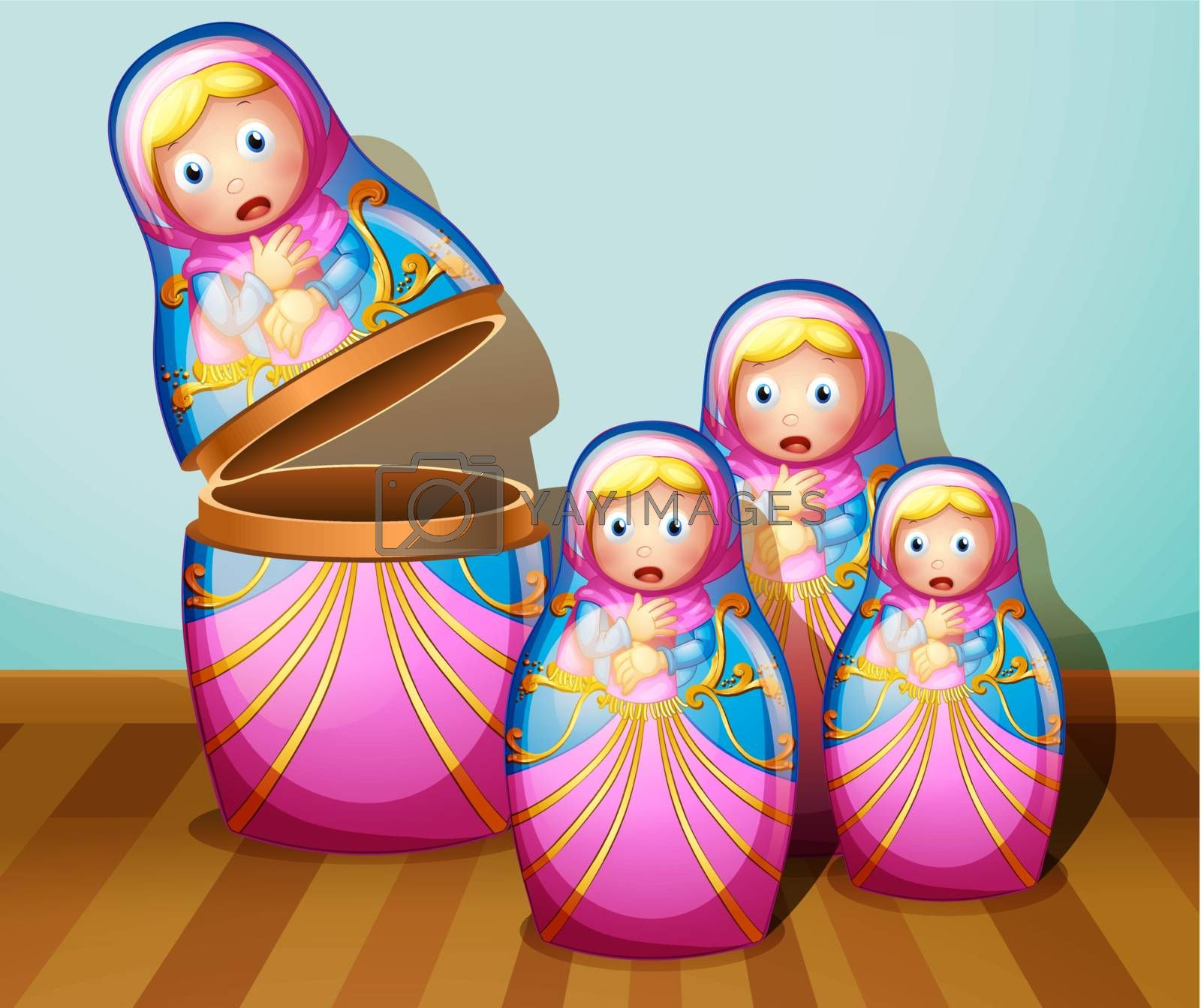 Illustration of the four colorful Russian dolls