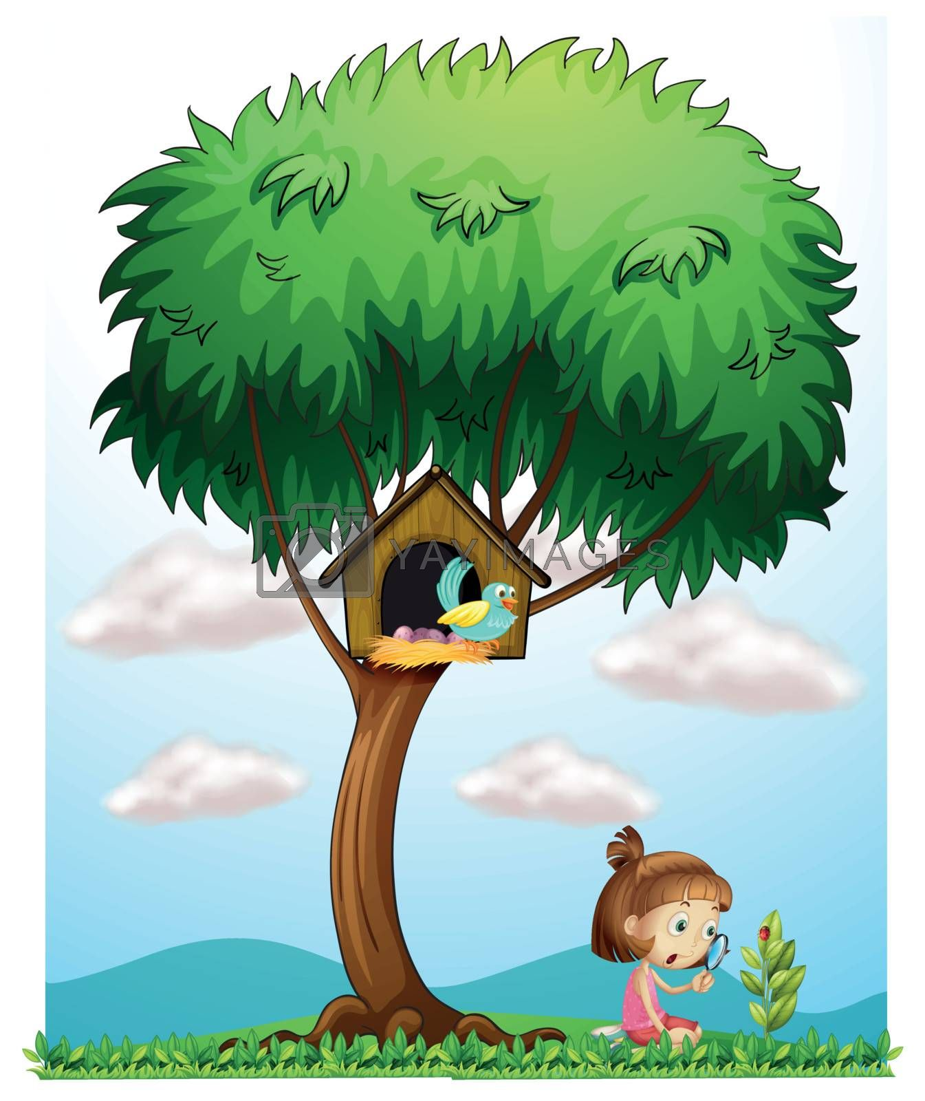 Illustration of a girl with a magnifying lens under a big tree on a white background