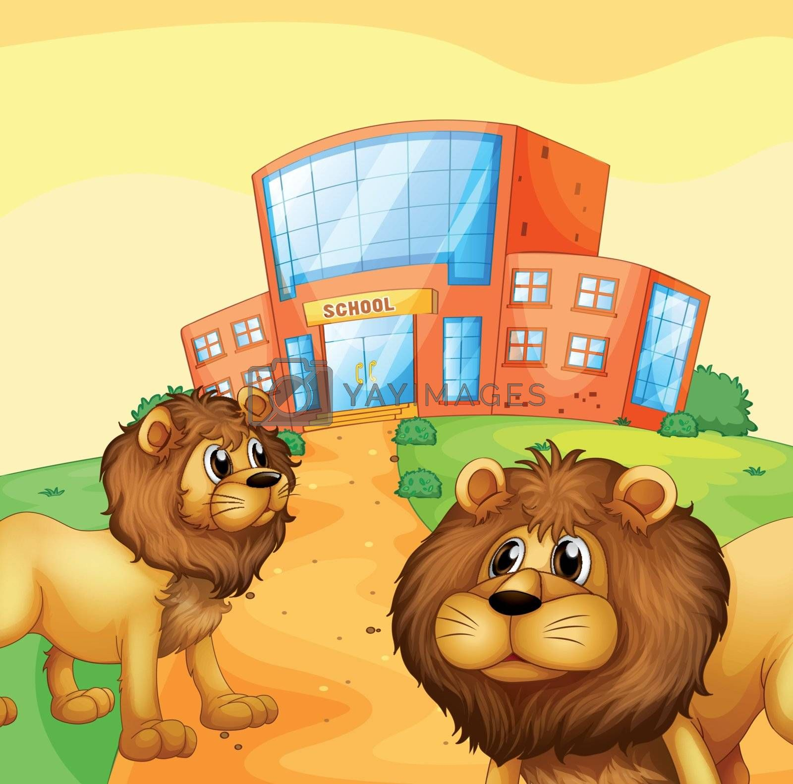 Illustration of the two wild lions in front of a school building
