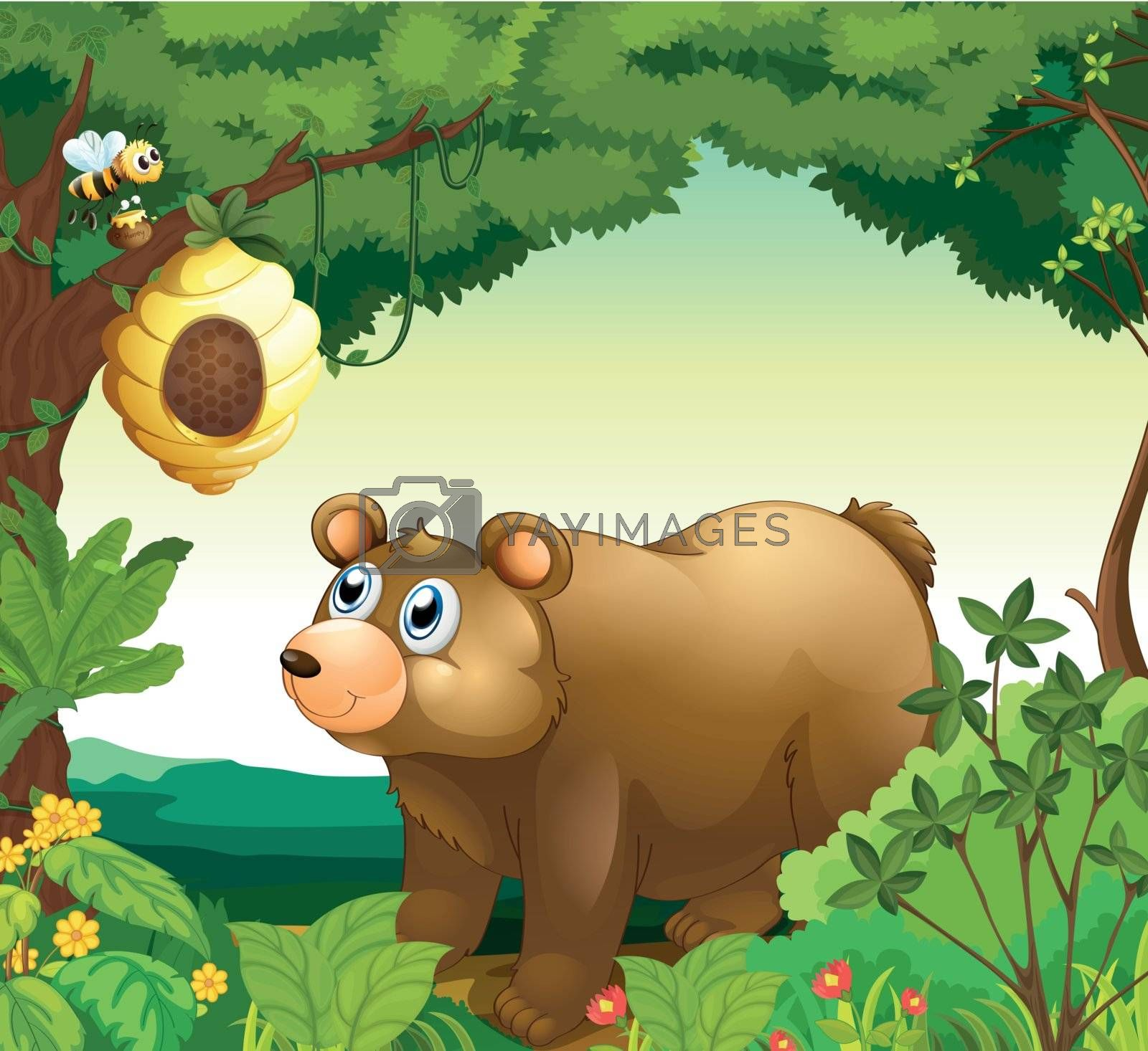 Illustration of a big brown bear staring at the beehive