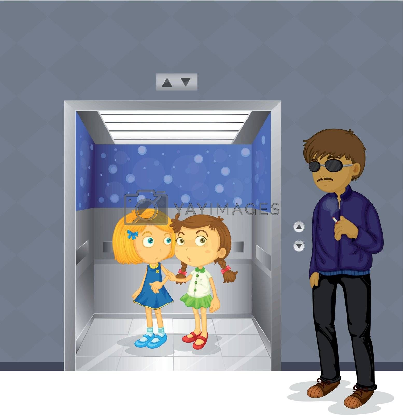 Illustration of the young girls inside the elevator and a scary man outside