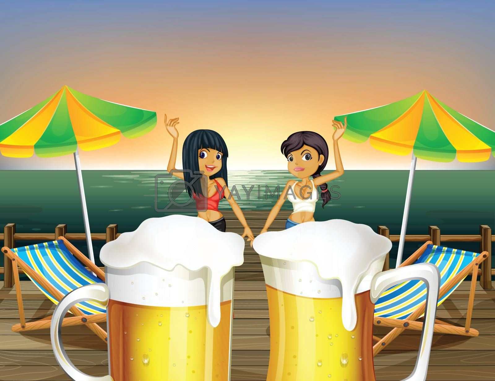 Illustration of the ladies at the wooden bridge and the pitchers of beer