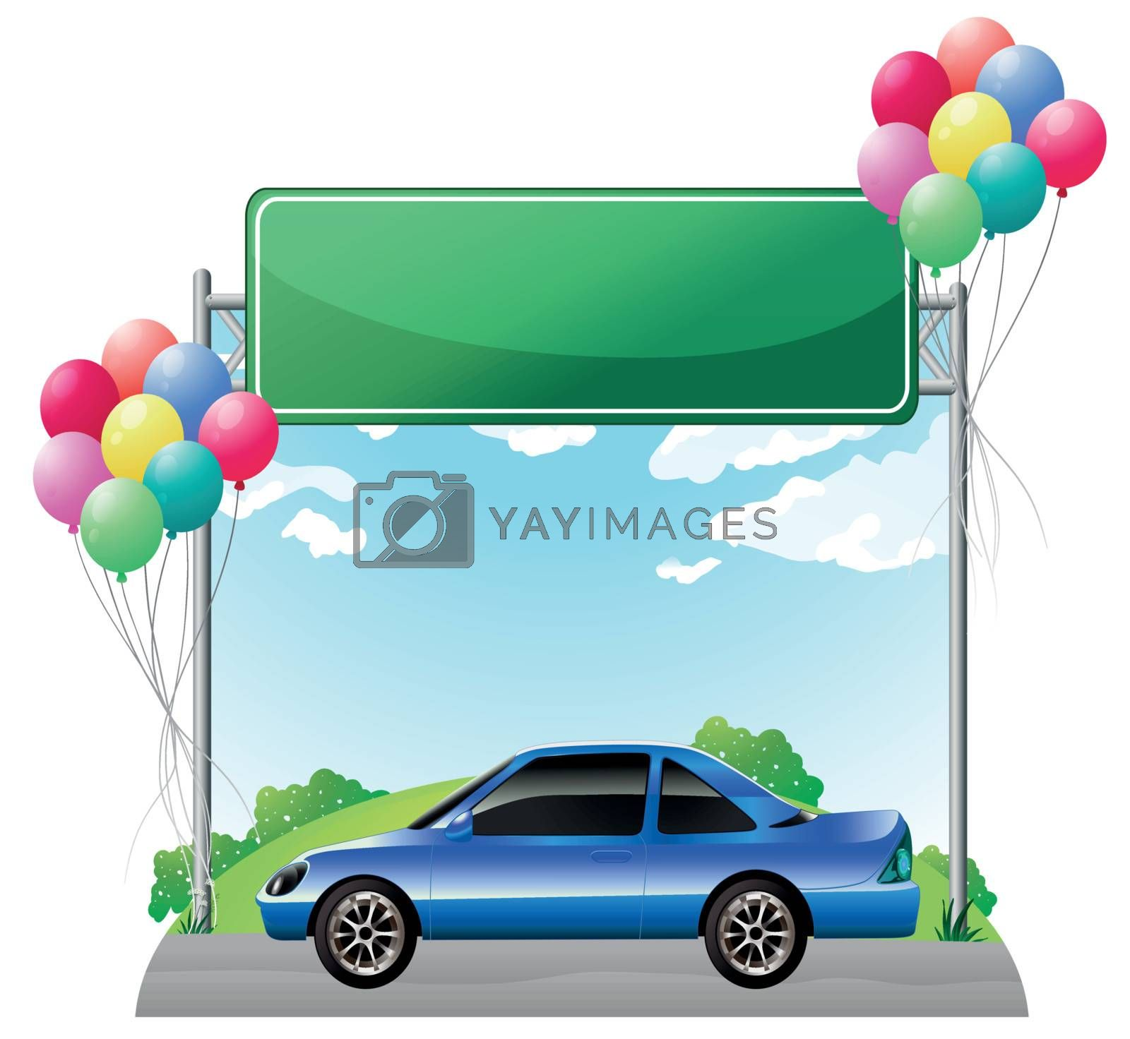 Illustration of a green empty signage above a blue tinted car on a white background