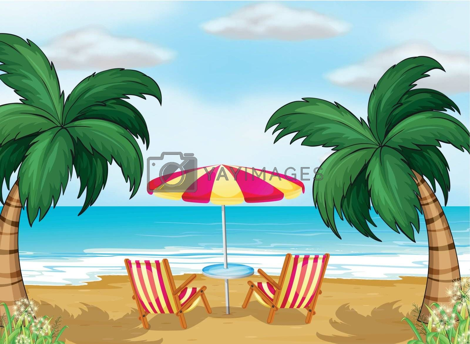 Illustration of the view of the beach with a beach umbrella and chairs