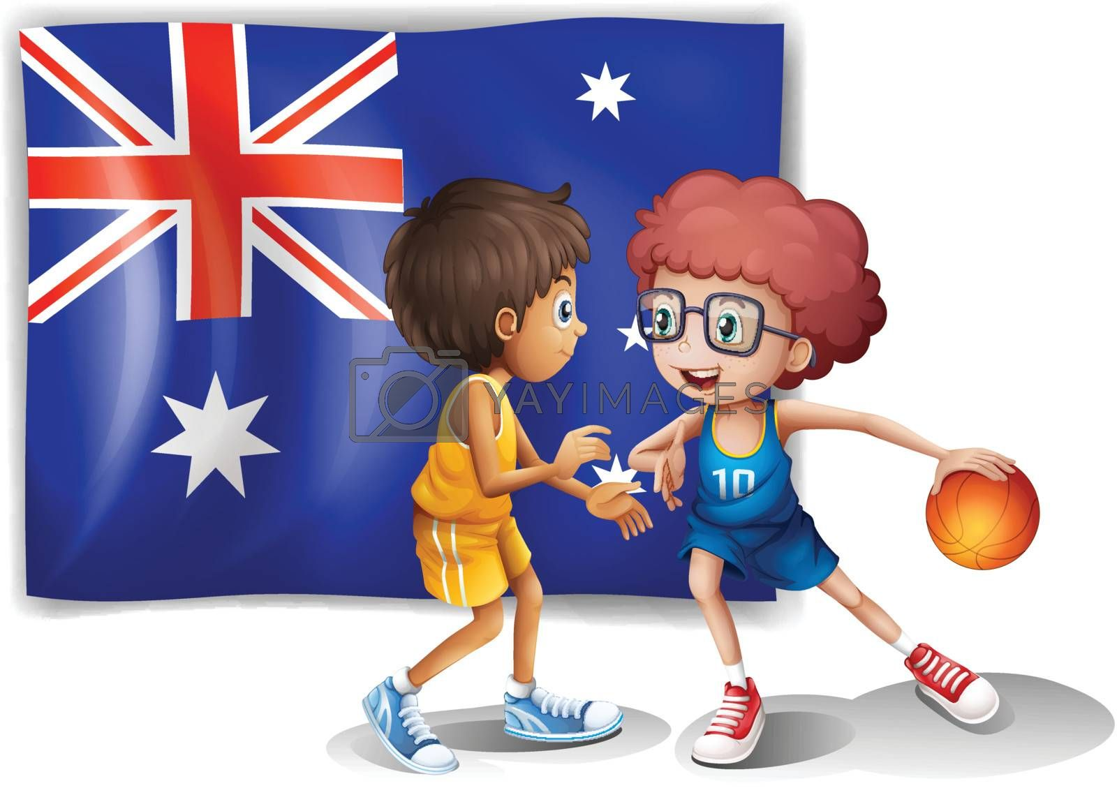 Illustration of the basketball players in front of the Australian flag on a white background
