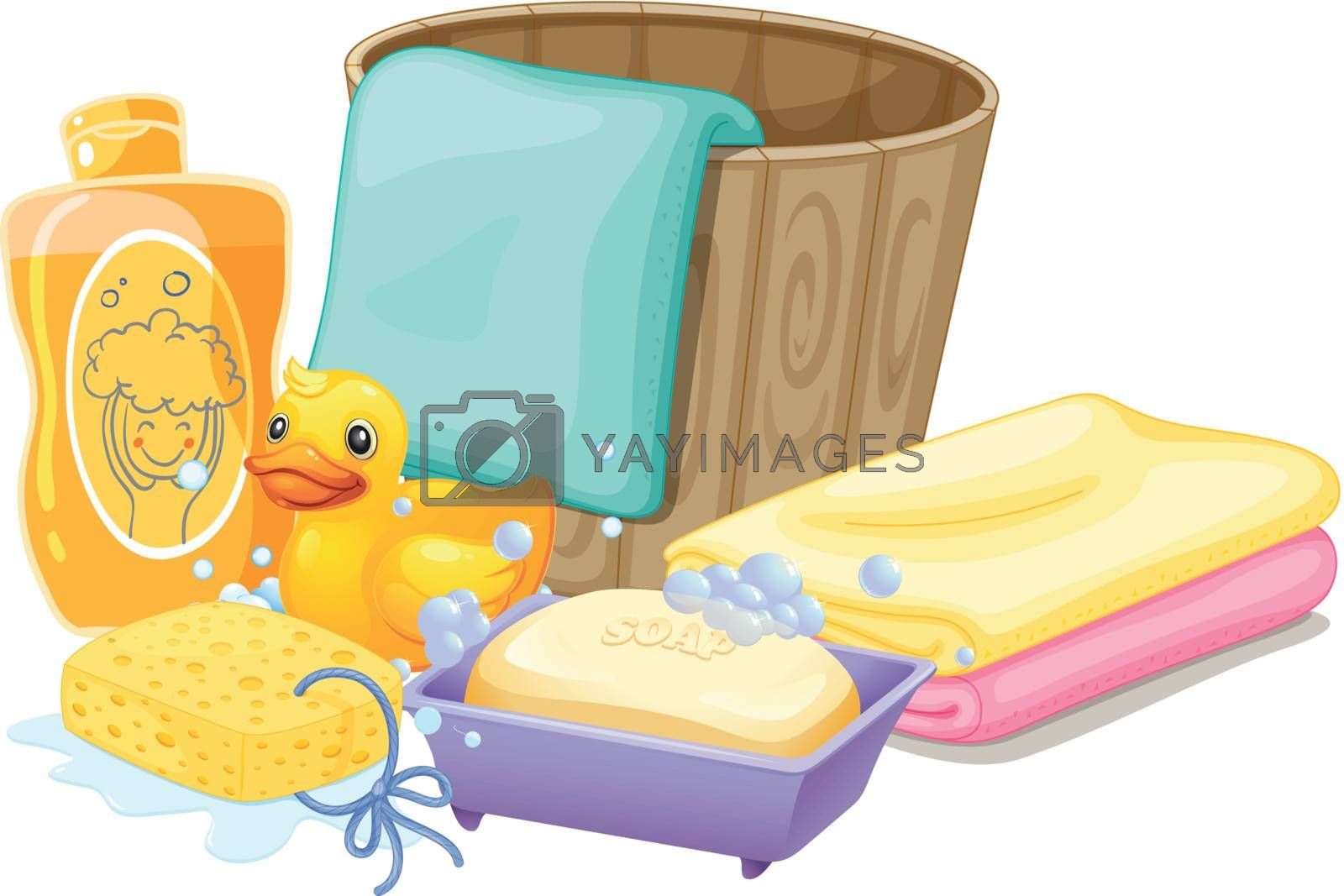 Illustration of the things needed in taking a bath