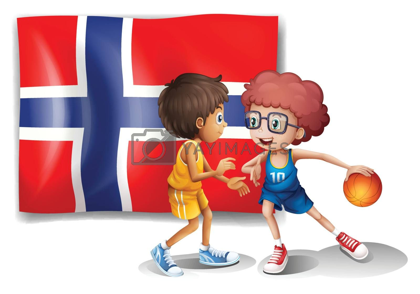 Illustration of the basketball players in front of the flag of Norway on a white background