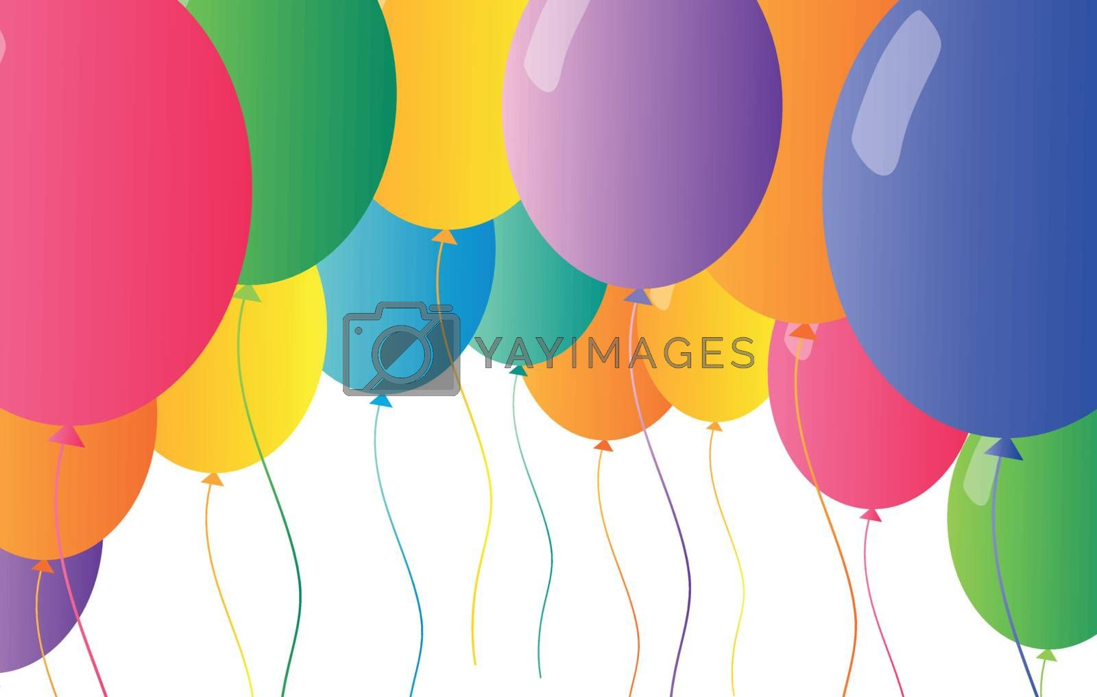 Illustration of the colorful flying balloons on a white background