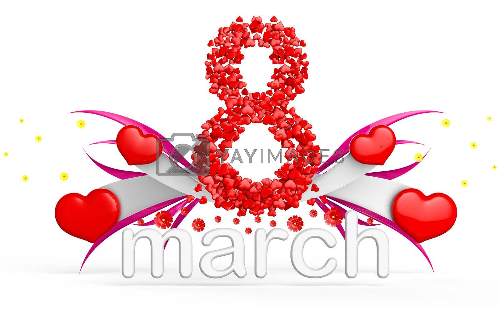 digit eight consisting of red hearts as element of decorations for March 8. International Women's Day