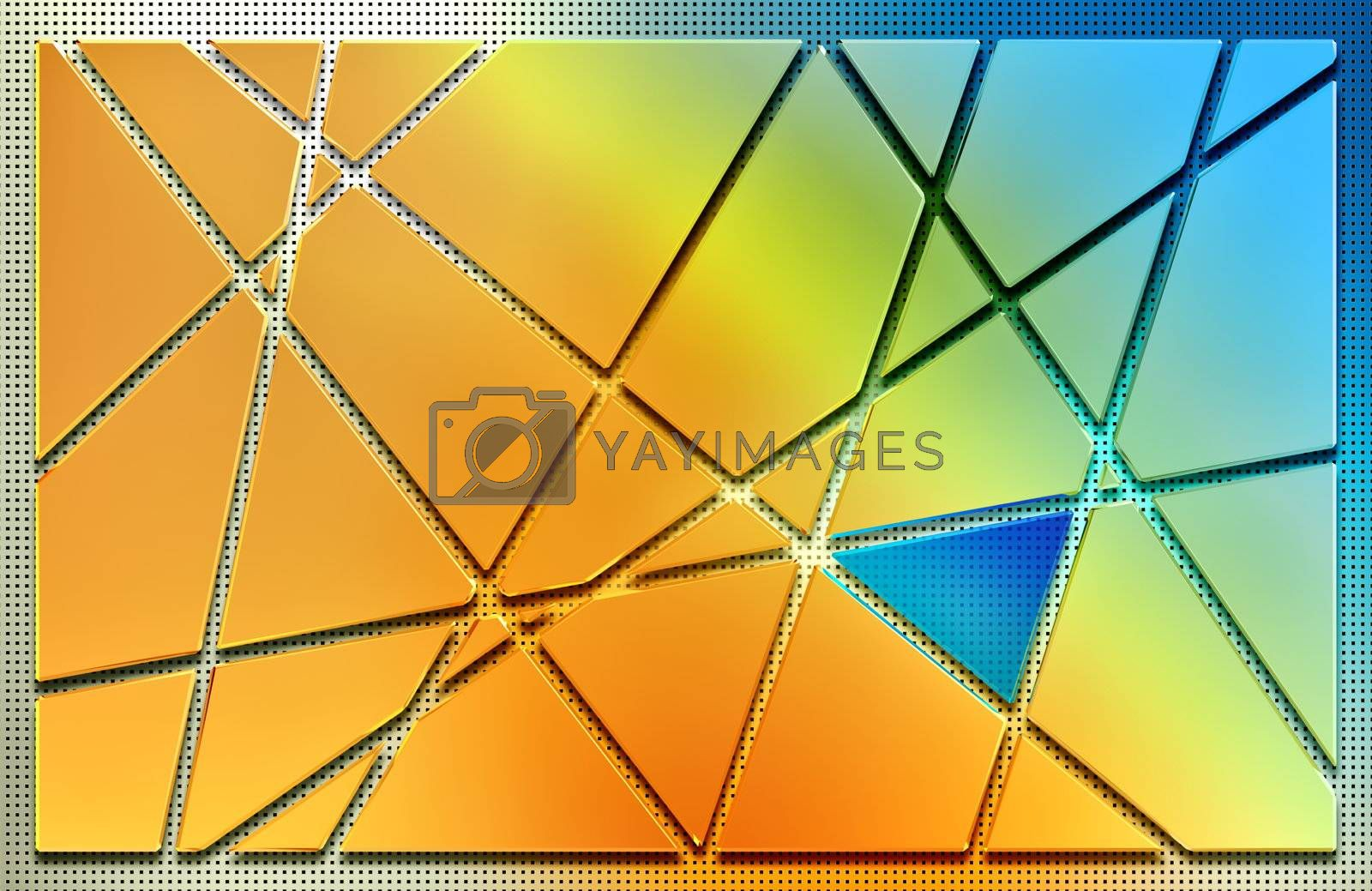 abstract background from pieces of cut golden metal plate, blue triangular glass and metal mesh