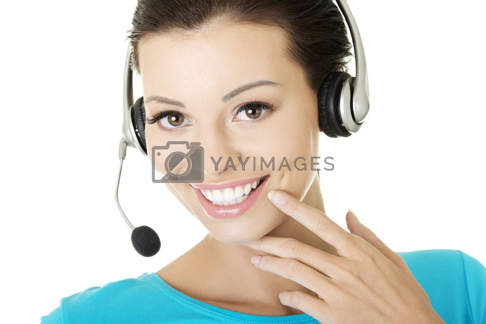 Beautiful young call-center assistant smiling by BDS