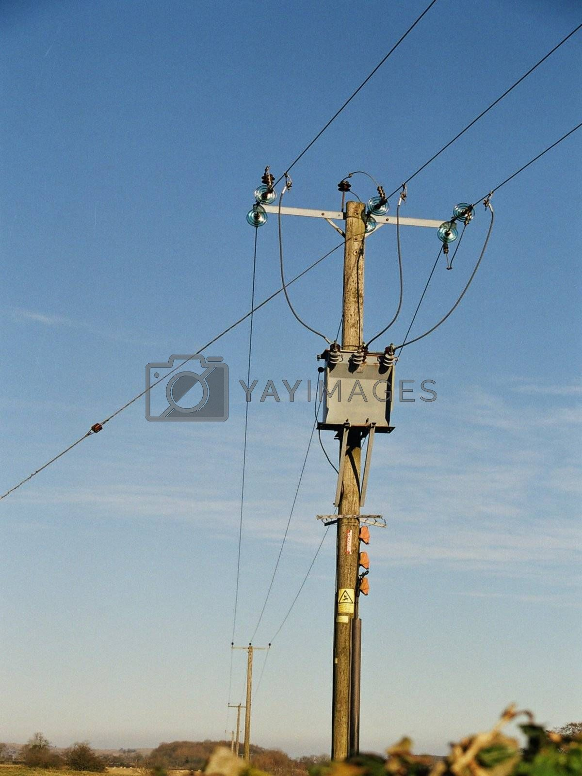 close up of an english electricity pole
