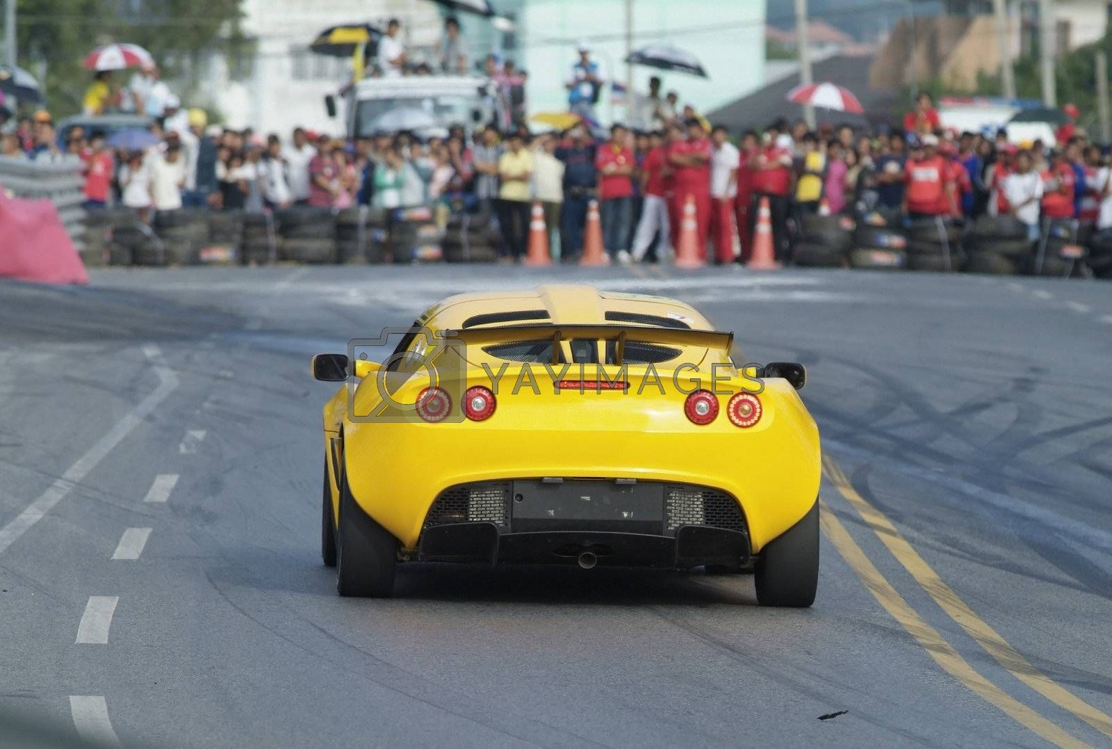Racing car and spectators by epixx