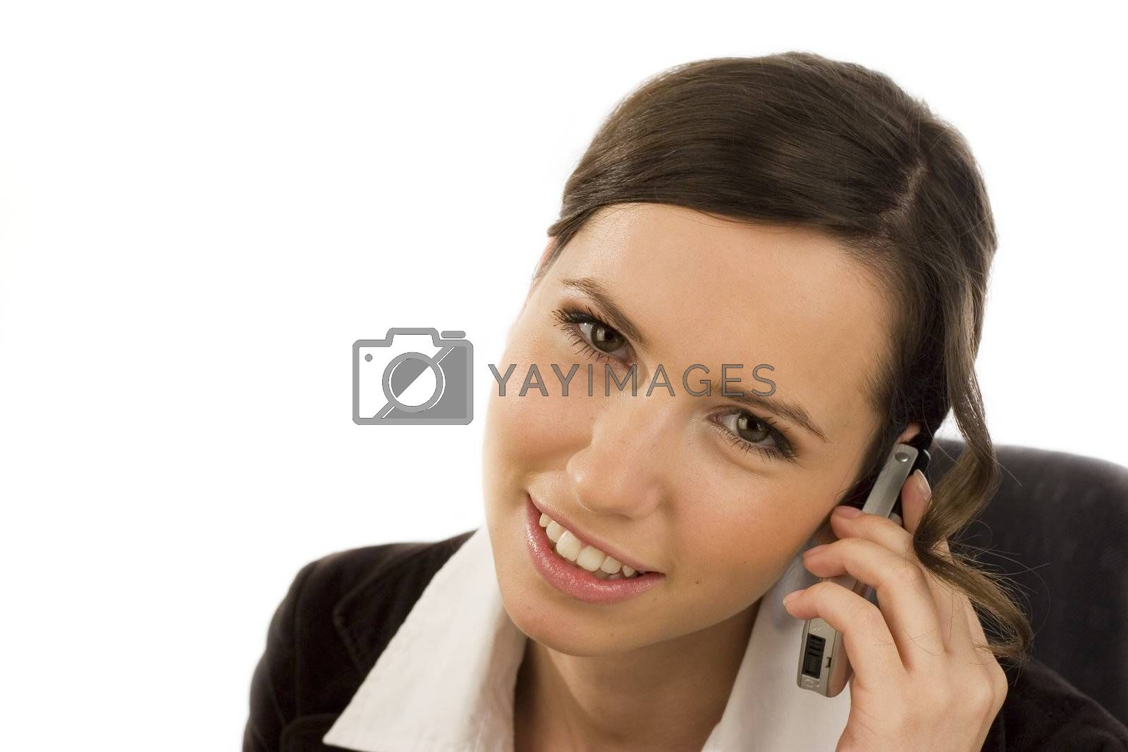 Attractive young woman with cell phone - isolated on white