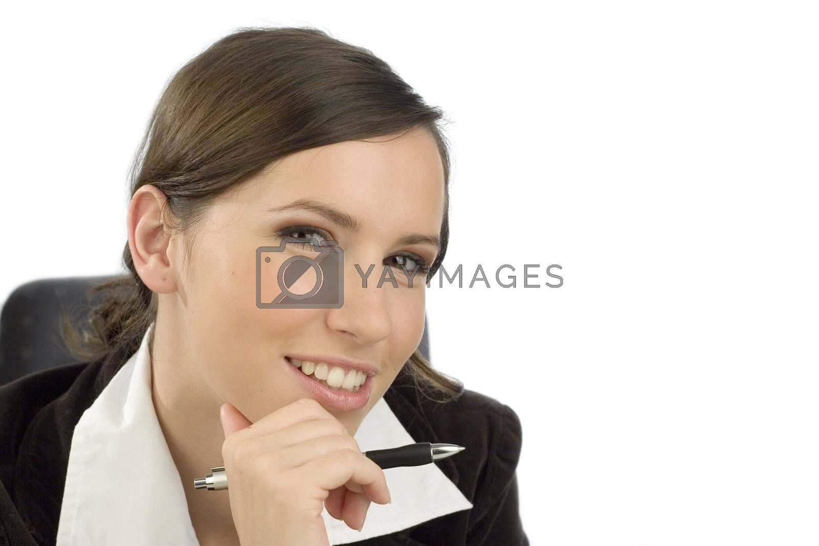 Friendly looking young woman with a ballpen in her hand