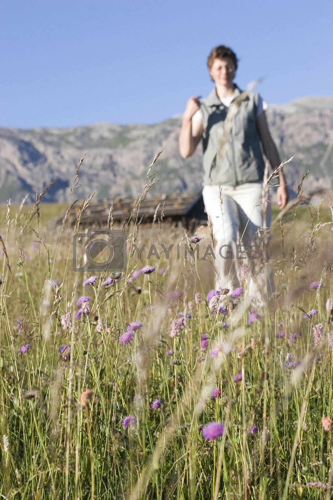 Hiking woman in a meadow in the mountains with a mountain shelter in the background - Seiser Alm - Dolomites