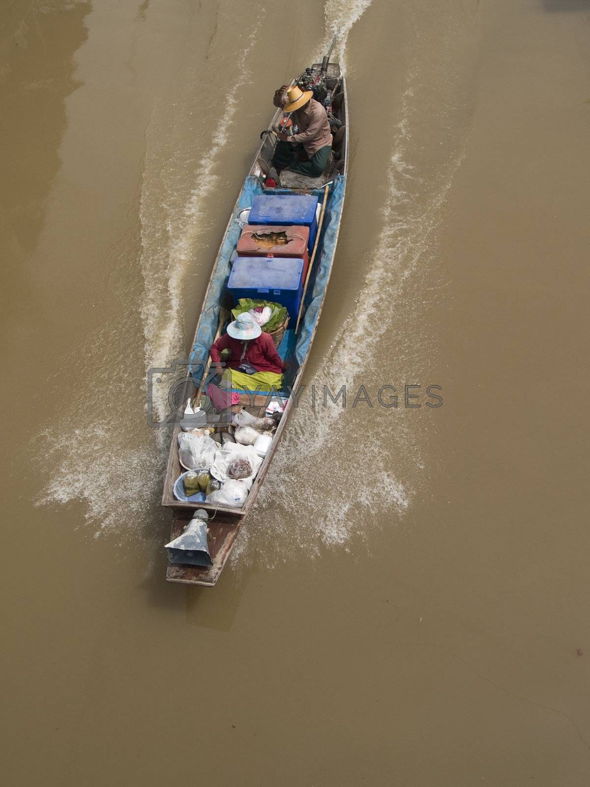Classic, wooden boat in Thailand by epixx