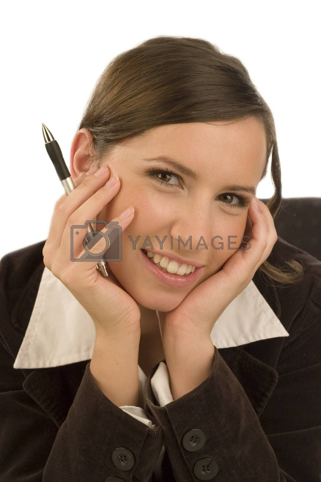Young smiling businesswoman with ballpen in her hand