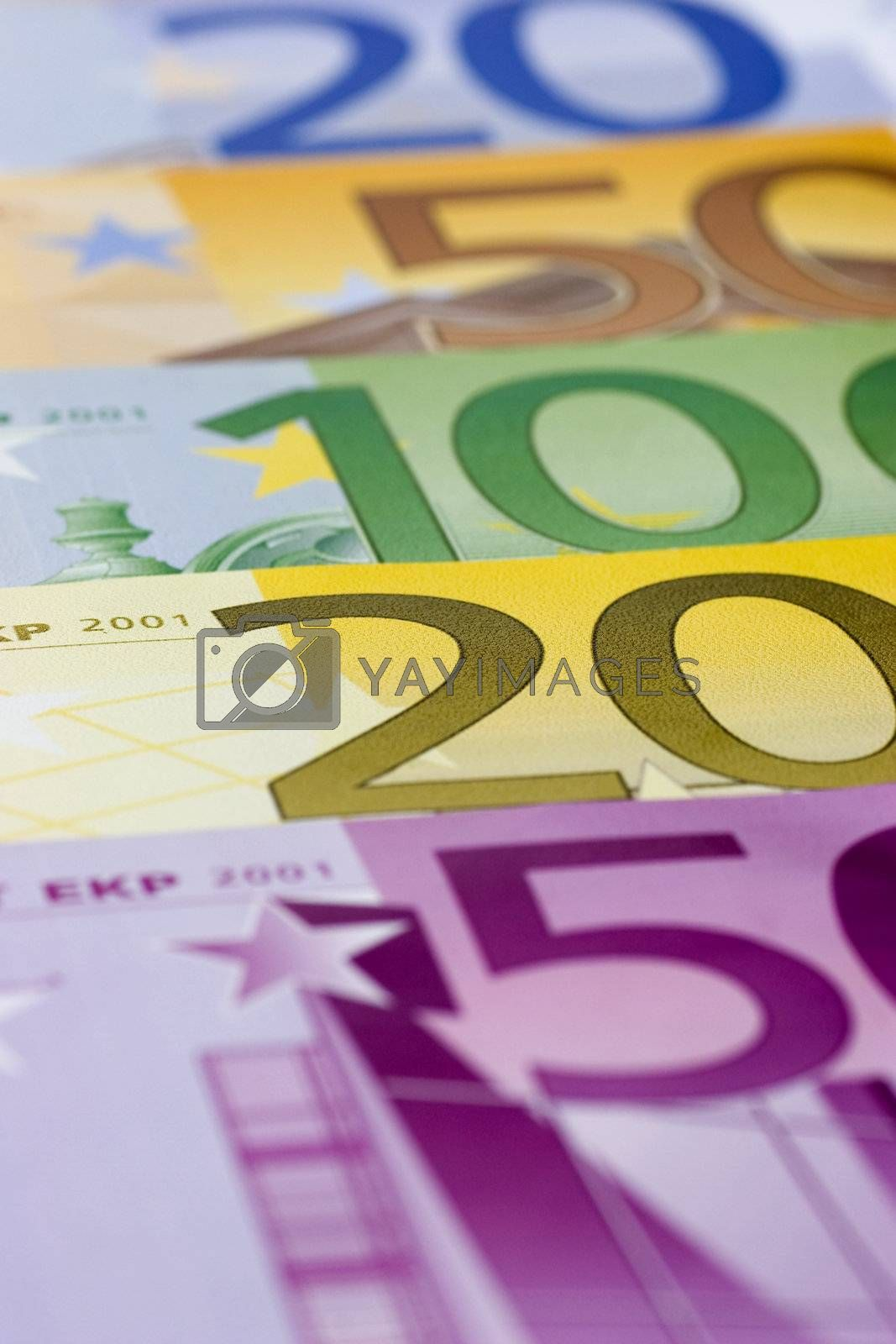 Extreme  close-up of euro banknotes in a row