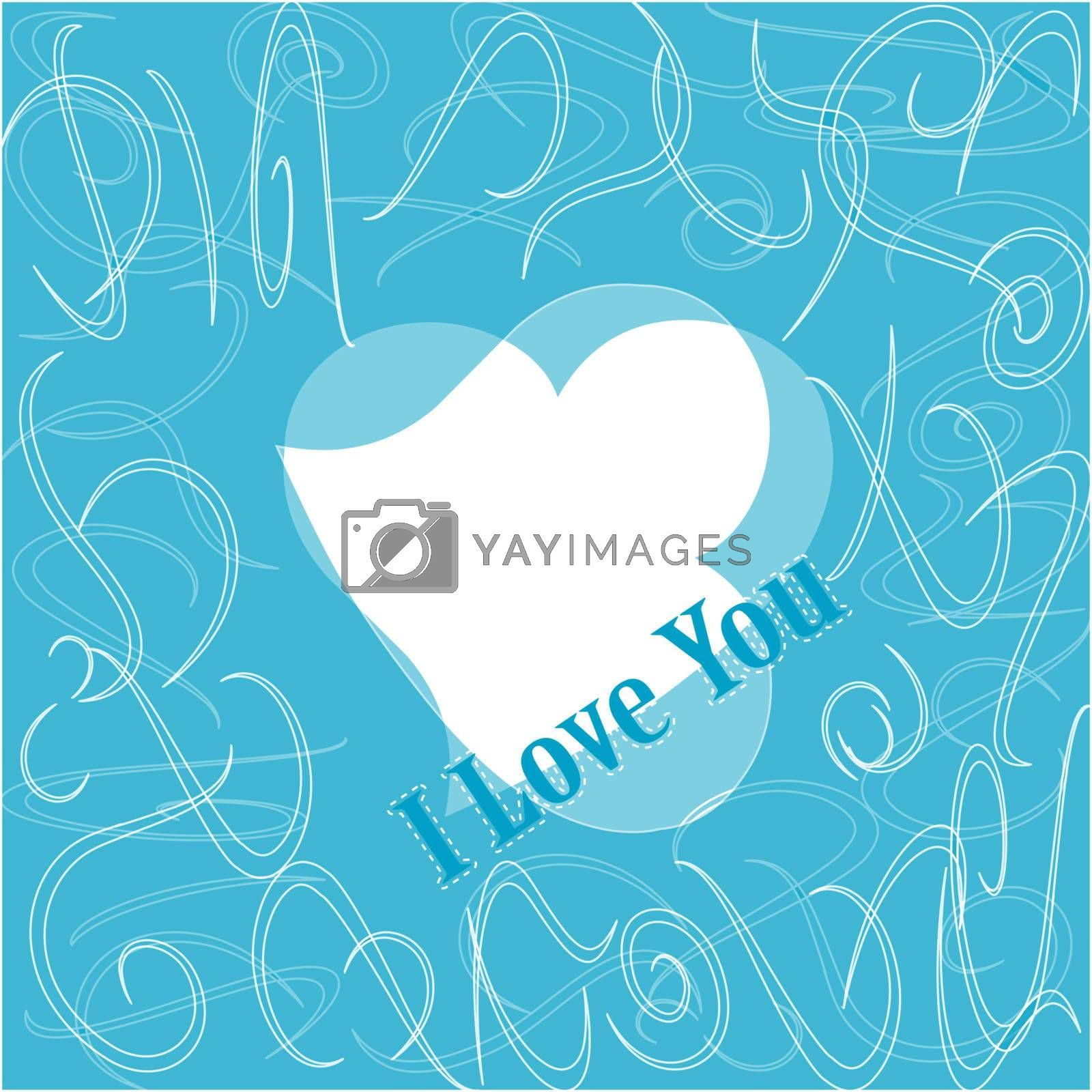 I love you. Romantic seamless vector blue pattern
